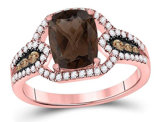 1.85 Carat (ctw) Natural Smokey Quartz Ring in 10K Rose Pink Gold with Diamonds 1/2 Carat (ctw)