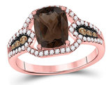 1.85 Carat (ctw) Natural Smokey Quartz Ring in 10K Rose Pink Gold with Diamonds 1/2 Carat (ctw)