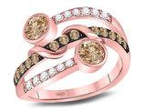 1.00 Carat (ctw) Champagne Brown Diamond Strand Ring in 10K Rose Pin
