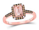 1.00 Carat (ctw) Natural Morganite Ring in 10K Rose Gold with Champagne Diamonds