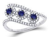1/3 Carat (ctw) Three Stone Lab Created Blue Sapphire Ring in 14K White Gold with Diamonds