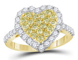 1.00 Carat (ctw I2-I3) Yellow Diamond Cluster Heart  Ring in 14K Yellow Gold
