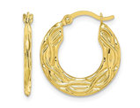10K Yellow Gold Patterned Hollow Hoop Earrings