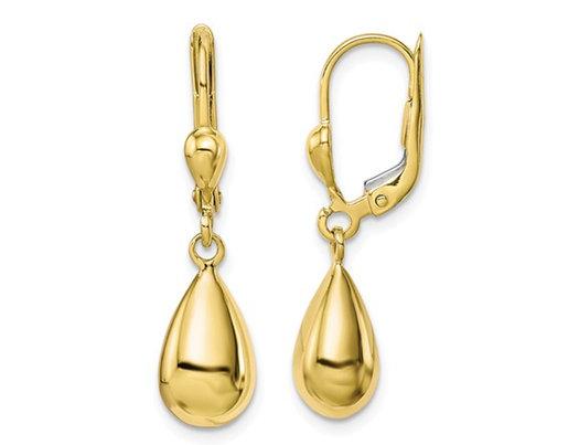 10K Yellow Gold Polished Fancy Dangle Leverback Earrings