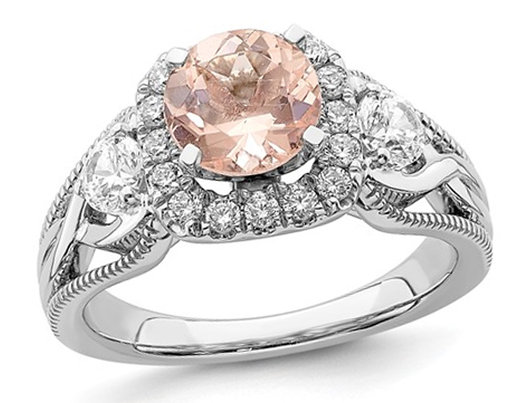 1.20 Carat (ctw) Morganite Halo Engagement Ring in 14K White Gold with Diamonds 7/10 carat (ctw)