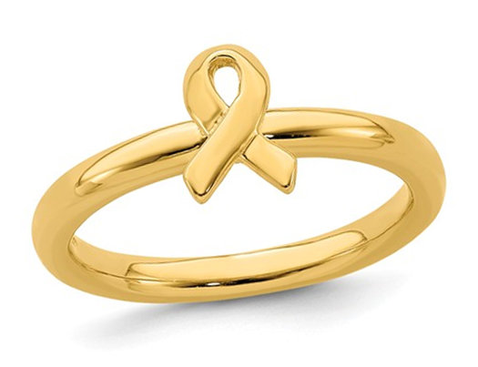 Yellow Plated Sterling Silver Awareness Ribbon Ring