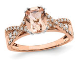 1.20 Carat (ctw) Morganite Twist Ring in 14K Rose Pink Gold with Diamonds