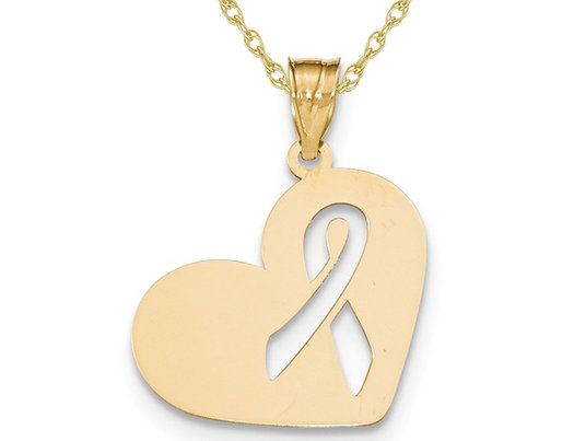 14K Yellow Gold Heart With Cut Out Awareness Ribbon Charm Pendant Necklace with Chain