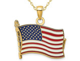 14K Yellow Gold Pledge Of Allegiance American Flag Book Charm Pendant Necklace with Chain