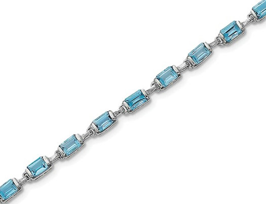 1.20 Carat (ctw) Emerald Cut Natural Blue Topaz Bracelet in Sterling Silver (7.25 Inches)