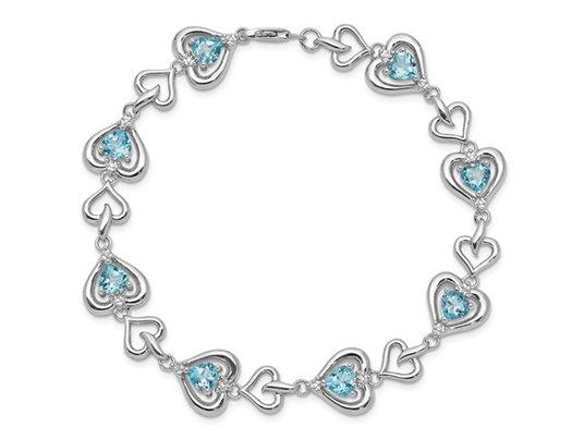 3.65 Carat (ctw) Sterling Silver Swiss Blue Topaz Heart Bracelet - 7 Inches
