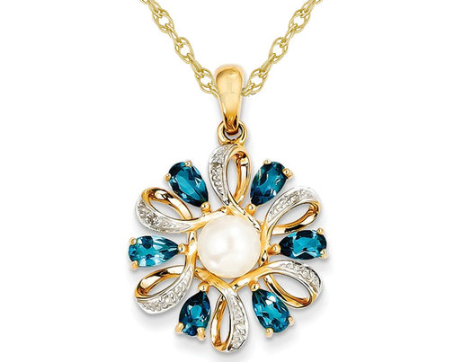 1.50 Carat (ctw) London Blue Topaz Flower Pearl Pendant Necklace in 14K Yellow Gold with Chain