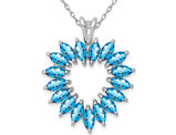 1.70 Carat (ctw) Swiss Blue Topaz Heart Pendant Necklace in Sterling Silver