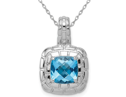 2.70 Carat (ctw) Swiss Blue Topaz Pendant Necklace in Sterling Silver
