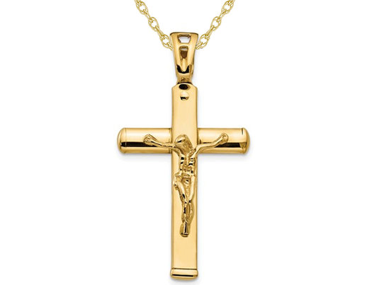 14K Yellow Gold Cross Polished Crucifix Pendant Necklace with Chain