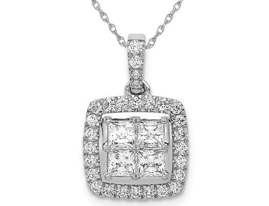 1.00 Carat (ctw I2-I3) Princess Cut Diamond Pendant Necklace in 14K White Gold with Chain