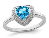 9/10 Carat (ctw) Blue Topaz Heart Promise Ring in Sterling Silver