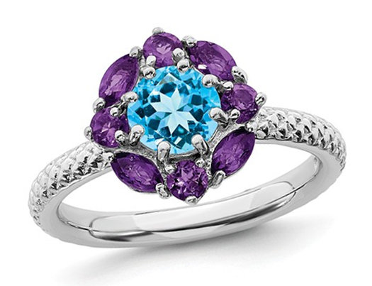 1.60 Carat (ctw) Blue Topaz and Amethyst Ring in Sterling Silver