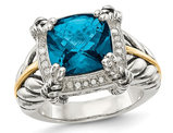 4.50 Carat (ctw) London Blue Topaz Ring in Sterling Silver with 14K Gold Accent