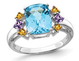 3.70 Carat (ctw) Blue Topaz, Amethyst and Citrine Ring in Sterling Silver