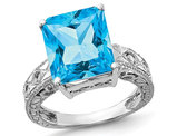 7.50 Carat (ctw) Natural Swiss Blue Topaz Ring in 14K White Gold