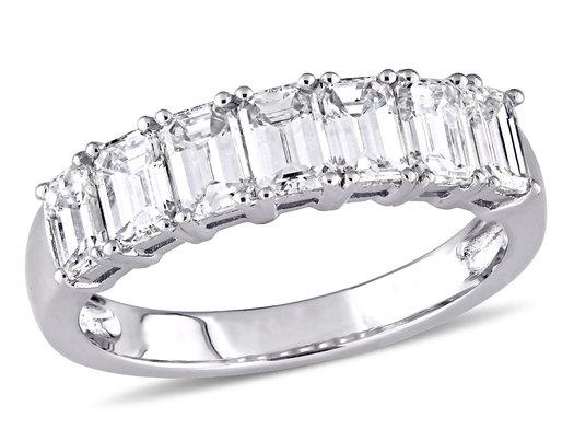 Emerald Cut Diamond Anniversary Wedding Band 1.68 Carat (ctw Color G-H, Clarity VS2-SI1) in 14K White Gold