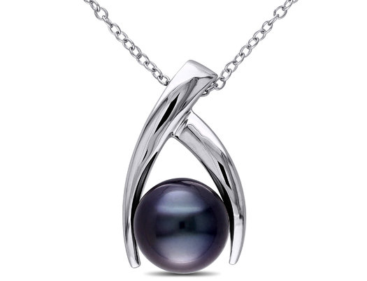 9-10mm Black Tahitian Cultured Pearl Pendant Necklace with Sterling Silver ChainSilver
