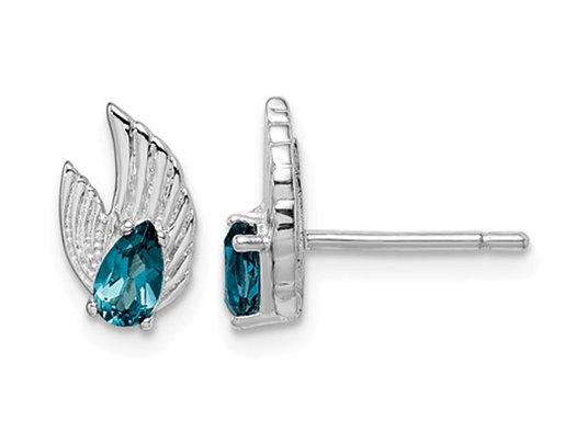 2/5 Carat (ctw) London Blue Topaz Wing Charm Post Earrings in Sterling Silver