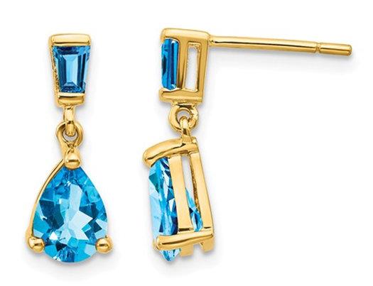 1.70 Carat (ctw) Swiss Blue Topaz Dangle Earrings in 14K Yellow Gold