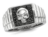 Men's Black Diamond 1/5 Carat (ctw) Polished Skull Ring in Sterling Silver