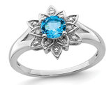 3/5 Carat (ctw) Blue Topaz Flower Ring in Sterling Silver