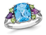3.70 Carat (ctw) Blue Topaz, Amethyst, and Peridot Ring in Sterling Silver