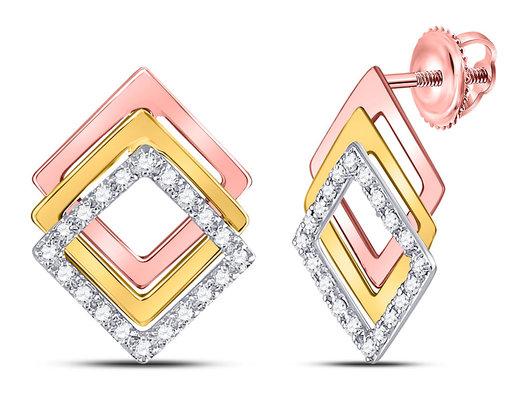 1/6 Carat (ctw I-J, I2-I3) Diamond Geometric Post Earrings in 10K White, Yellow and Pink Gold
