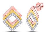 1/6 Carat (ctw I-J, I2-I3) Diamond Geometric Post Earrings in 10K White, Yellow and Pink Gold