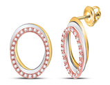 1/5 Carat (ctw I-J, I2-I3) Diamond Circle Post Earrings in 10K White, Yellow and Pink Gold