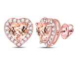 10K Rose Pink Gold 1.20 Carat (ctw) Natural Morganite Heart Earrings with 1/4 Carat (ctw) Diamonds