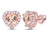 10K Rose Pink Gold 1.20 Carat (ctw) Natural Morganite Heart Earrings with 1/4 Carat (ctw) Diamonds