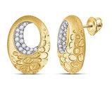 1/5 Carat (ctw H-I, I1-I2) Diamond Fashion Circle Earrings in 14K Yellow Gold