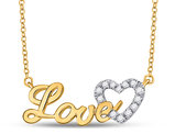 1/6 Carat (ctw Clarity I2-I3) Diamond Love Heart Necklace in 10K Yellow Gold