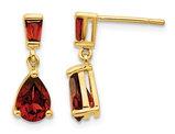 1.50 Carat (ctw) Natural Garnet Tear Drop Dangle Earrings in 14K Yellow Gold