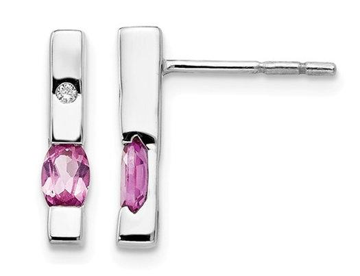 2/3 Carat (ctw) Pink Tourmaline Stick Earrings in Sterling Silver