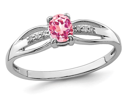 1/3 Carat (ctw) Natural Pink Tourmaline Ring in Sterling Silver