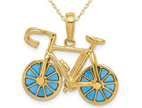 14K Yellow Gold Blue Enameled Bicycle Charm Pendant Necklace with Chain