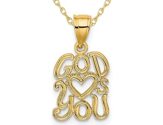 14K Yellow Gold God Loves (Heart ) You Charm Pendant Necklace with Chain