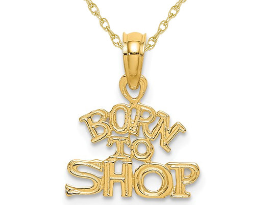 14K Yellow Gold - Born To Shop - Charm Pendant Necklace with Chain