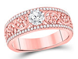 3/4 Carat (ctw G-H, SI3-I1) Solitaire Diamond Engagement Flower Ring in 14K Rose Pink Gold