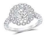 7/10 Carat (ctw G-H, I1) Diamond Milgrain Engagement Ring in 14K White Gold