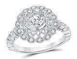 7/10 Carat (ctw G-H, I1) Diamond Milgrain Engagement Ring in 14K White Gold