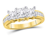 2.00 Carat (ctw G-H, I1) Three Stone Princess Cut Diamond Engagement Ring in 14K Yellow Gold