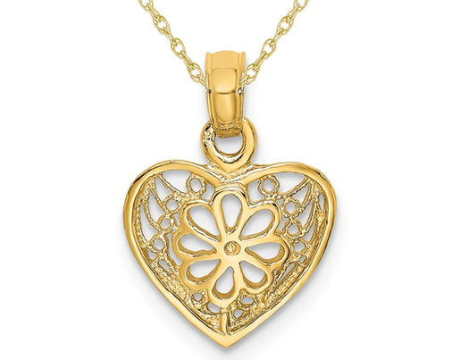 14K Yellow Gold Filigree Heart Pendant Necklace with Chain